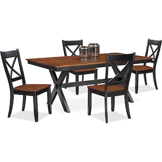 Nantucket Trestle Dining Table and 4 Dining Chairs - Black and Cherry
