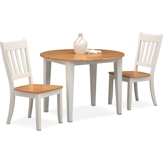 Nantucket Drop-Leaf Dining Table and 2 Slat-Back Dining Chairs - Maple and White
