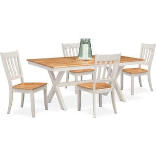 Nantucket Trestle Dining Table and 4 Slat-Back Dining Chairs - Maple and White