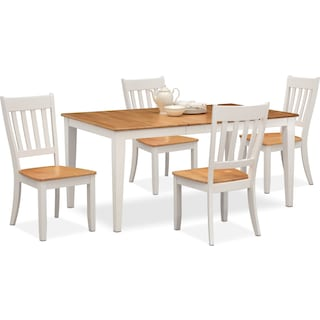 Nantucket Dining Table and 4 Slat-Back Dining Chairs - Maple and White