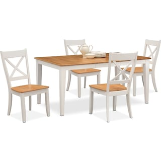Nantucket Dining Table and 4 Dining Chairs - Maple and White