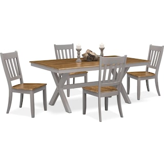 Nantucket Trestle Dining Table and 4 Slat-Back Dining Chairs - Oak and Gray