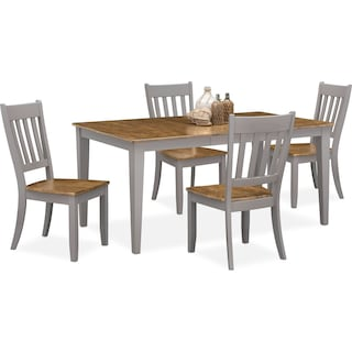 Nantucket Dining Table and 4 Slat-Back Dining Chairs - Oak and Gray