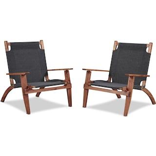 Nantucket Set of 2 Youth Outdoor Folding Chairs - Brown