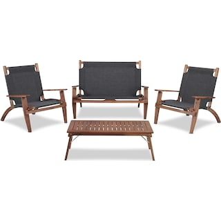 Nantucket 4-Piece Folding Youth Outdoor Set - Brown