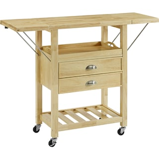 Nell Drop-Leaf Kitchen Cart - Natural
