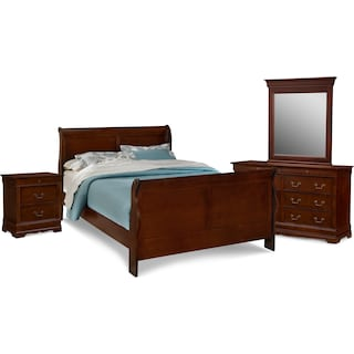 Neo Classic 6-Piece Queen Bedroom Set with Nightstand, Dresser and Mirror - Cherry