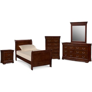 Neo Classic Youth 7-Piece Twin Bedroom Set with Chest, Nightstand, Dresser and Mirror - Cherry