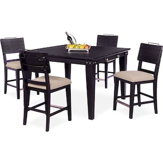 New Haven Counter-Height Dining Table and 4 Shiplap Stools - Black