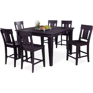New Haven Counter-Height Dining Table and 6 Slat-Back Dining Stools - Black