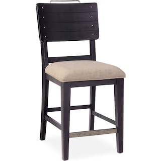 New Haven Counter-Height Shiplap Stool - Black