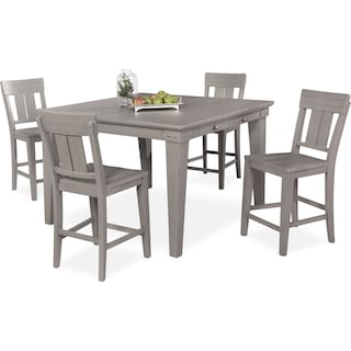 New Haven Counter-Height Dining Table and 4 Slat-Back Stools - Gray