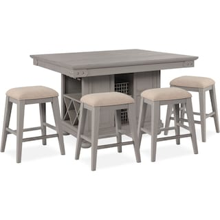 New Haven Counter-Height Kitchen Island and 4 Backless Stools - Gray