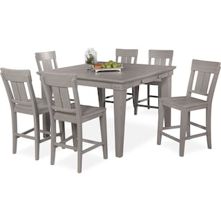 New Haven Counter-Height Dining Table and 6 Slat-Back Dining Stools - Gray