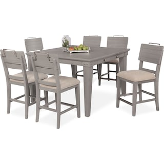 New Haven Counter-Height Dining Table and 6 Shiplap Stools - Gray