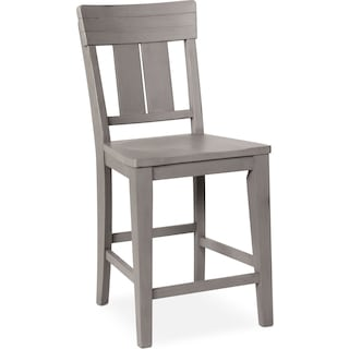 New Haven Counter-Height Slat-Back Stool - Gray