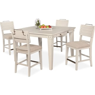 New Haven Counter-Height Dining Table and 4 Shiplap Stools - White