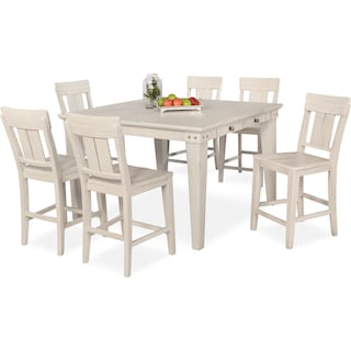 New Haven Counter-Height Dining Table and 6 Slat-Back Dining Stools - White