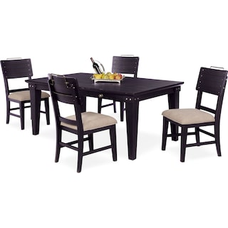 New Haven Dining Table and 4 Shiplap Dining Chairs - Black