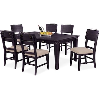 New Haven Dining Table and 6 Shiplap Dining Chairs - Black