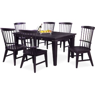 New Haven Dining Table and 6 Windsor Dining Chairs - Black