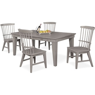New Haven Dining Table and 4 Windsor Dining Chairs - Gray