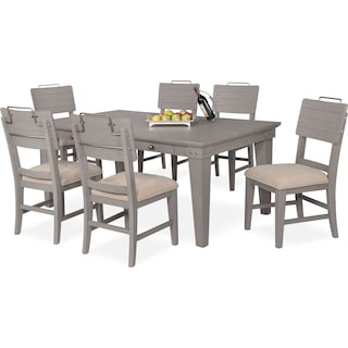 New Haven Dining Table and 6 Shiplap Dining Chairs - Gray