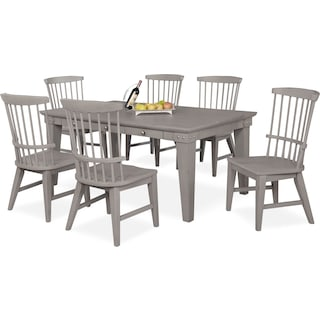 New Haven Dining Table and 6 Windsor Dining Chairs - Gray