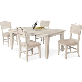 New Haven Dining Table and 4 Shiplap Dining Chairs - White