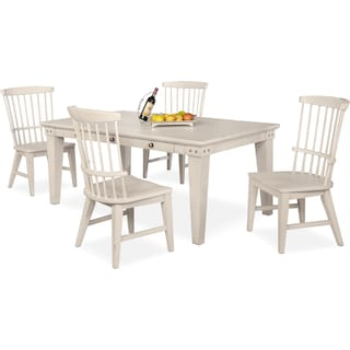 New Haven Dining Table and 4 Windsor Dining Chairs - White