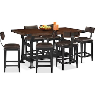 Newcastle Counter-Height Dining Table and 6 Stools - Mahogany