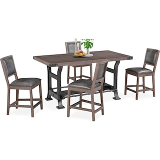 Newcastle Counter-Height Dining Table and 4 Dining Chairs - Gray