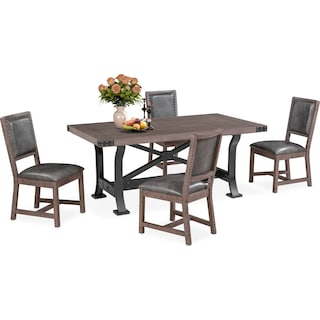 Newcastle Dining Table and 4 Dining Chairs - Gray