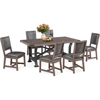 Newcastle Dining Table and 6 Dining Chairs - Gray