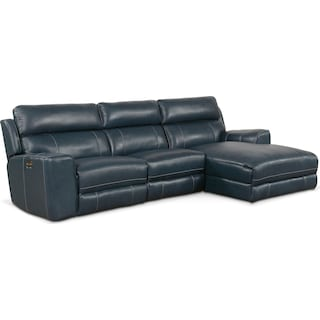 Newport 3-Piece Dual-Power Reclining Sectional with Right-Facing Chaise - Blue