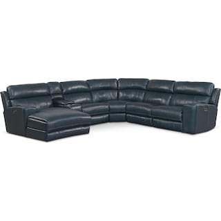 Newport 6-Piece Dual-Power Reclining Sectional with Left-Facing Chaise and 2 Reclining Seats - Blue
