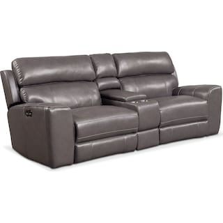Newport 3-Piece Dual-Power Reclining Sofa with Console - Gray
