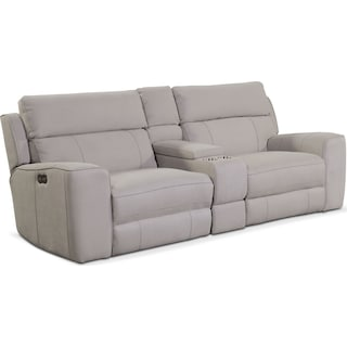 Newport 3-Piece Dual-Power Reclining Sofa with Console - Light Gray