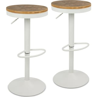 Noa Set of 2 Adjustable Swivel Bar Stools - White