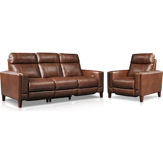 Oliver Dual-Power Reclining Sofa and Recliner - Brown