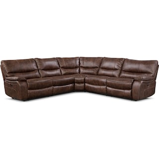 Orlando 5-Piece Power Reclining Sectional with 3 Reclining Seats - Brown