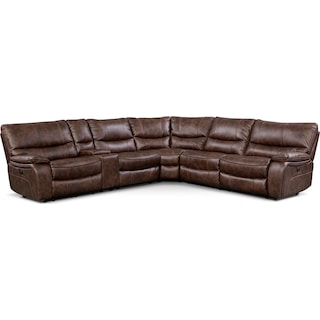 Orlando 6-Piece Power Reclining Sectional with 3 Reclining Seats - Brown