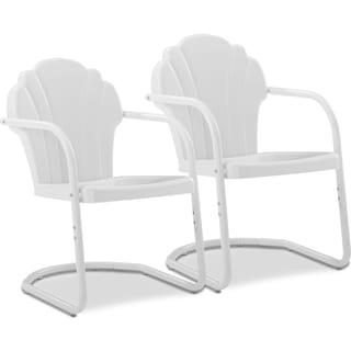 Petal Retro Set of 2 Outdoor Chairs - White