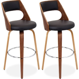 Piazza Set of 2 Bar Stools - Walnut