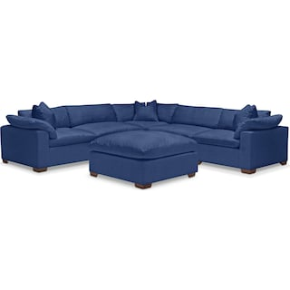 Plush 5-Piece Sectional and Ottoman - Abington TW Indigo