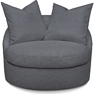 Plush Swivel Chair - Dudley Indigo