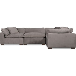 Plush 3-Piece Sofa and Ottoman - Gray