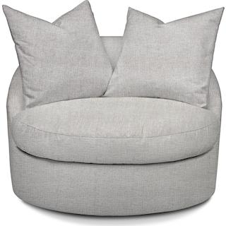 Plush Swivel Chair - Everton Gray