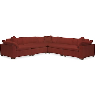 Plush 5-Piece Sectional - Modern Velvet Cayenne