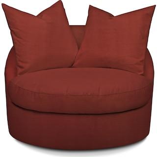 Plush Swivel Chair - Modern Velvet Cayenne